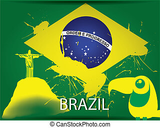 brazil flag - the brazil flag with a yellow silhouette of...
