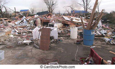 Home Wreckage 2 - Looking over the chaotic wreckage of a...