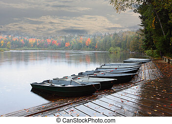 Row of Boats - Row of rowing boats at Lower Tahquamenon...