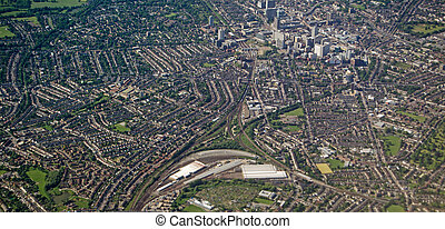 East Croydon, Aerial View - Aerial view of the railway and...