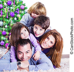 Christmas holiday - Cheerful large family having fun at home...
