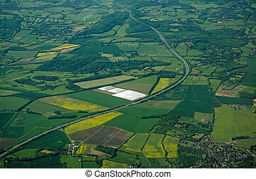 Motorway through Kent, Aerial View - Aerial view of the M25...