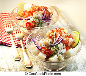 Cebiche - Peruvian ceviche. Raw fish marinated on lime.