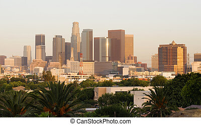 City of Los Angeles Horizontal Downtown Buildings Architecture