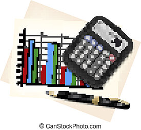 Business concept with finance graphs, electronic calculator...