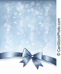Christmas Holiday background with gift glossy bow and ribbon. Vector