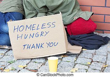 senzatetto, affamato, povero, uomo