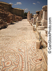 Mosiac street Ephesus Turkey - Mosiac street lined with...
