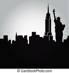 new york - some black silhouettes of the buildings from new...