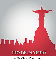 rio de janeiro - some red silhouettes of the buildings from...