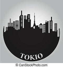 tokyo - some black silhouettes of the buildings from tokyo