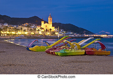 Sant Bartomeu i Santa Tecla church at Sitges, Spain - Sant...