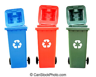 Colorful Recycle Bins Isolated With Recycle Sign For Green...