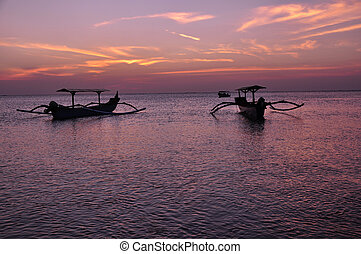 Traditional Fishing Boats at Sunset