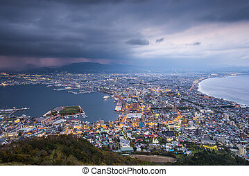 Hakodate, Japan viewed from Mt. Hakodate.