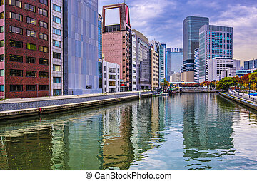 Osaka Cityscape - River view in Osaka, Japan.