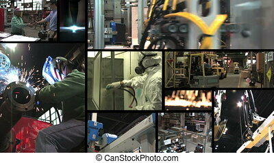 Industrial Montage - Collection of industrial factory and...