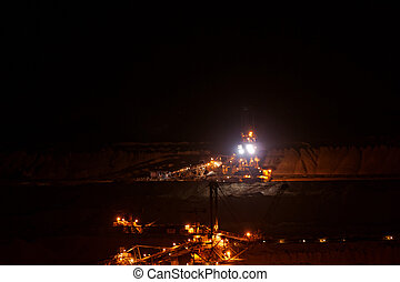 Coal mining in an open pit with huge industrial machine at...