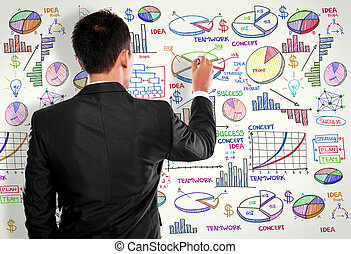 Businessman drawing modern business concept on white -...