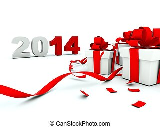 2014 New Year with a presents on white background