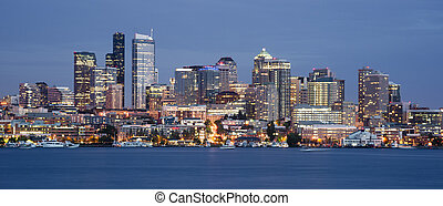 Seattle Skyline Downtown Office Buildings Nautical Transport...