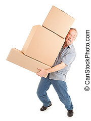 Man Painfully Carrying Boxes