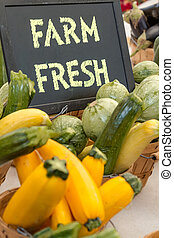 Farmers Market - Organically grown vegetables in baskets for...