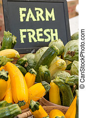 Farmers Market - Colorful display of locally grown...