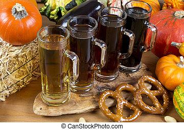beer flight - oktoberfest beer flight of four sampling mugs...