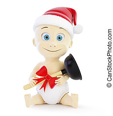 child plumber gift santa hat 3d Illustrations on a white...