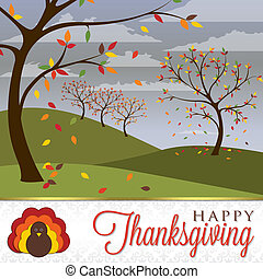 Happy Thanksgiving - Thanksgiving scene card in vector...