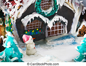 gingerbread house and scenery for a Merry Christmas