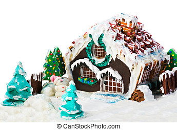 gingerbread house and candy for the holiday merry christmas...