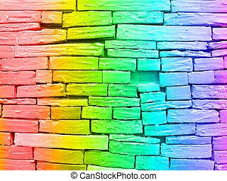 Rainbow brick wall