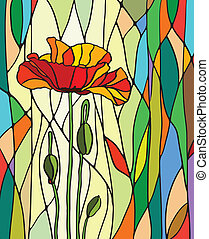 Stained glass window - Multicolored stained glass with...