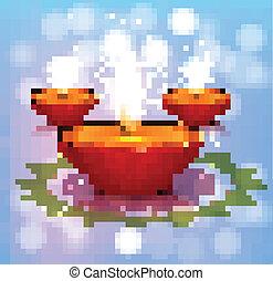 Beautiful illustration diya colorful happy and safe Diwali design vector