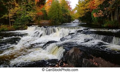 Bond Falls Autumn Loop - Loop features whitewater flowing...