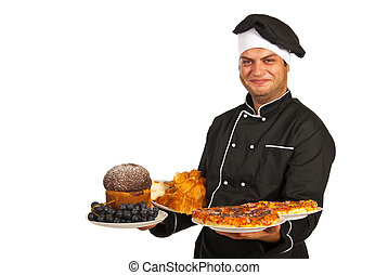 Chef holding plates with food