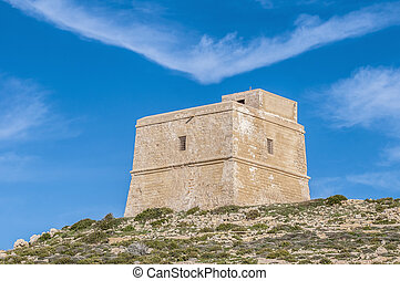 Dwajra Tower located in Gozo Island, Malta - Dwajra Tower in...
