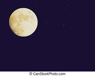 Retro look Moon - Vintage looking Full moon over dark sky...