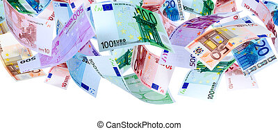 Flying Euro - Panoramic image of falling Euro banknotes...
