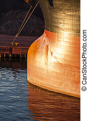 Moored - Bulbous Bow of Huge Moored Ship