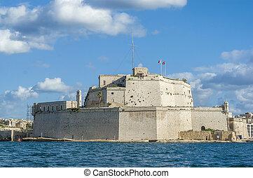 Fort Saint Angelo in Vittoriosa (Birgu), Malta, as seen from...