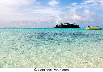 Muri Lagoon in Rarotonga Cook Islands - Yellow boat and mall...
