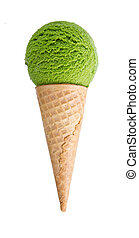 ice cream with cone on white background