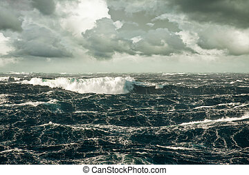 Wave - Huge Wave Crashing Down at Storming North Atlantic