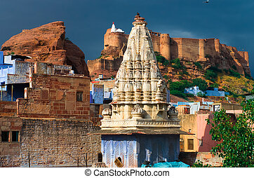 Mehrangarh fortress in Jodhpur, Rajasthan, North India -...