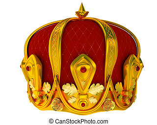 Royal gold crown isolated on a white background 3d