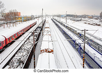 Freight Station with trains at a winter