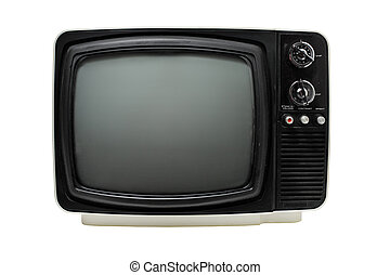 "TV - Old 12"" black & white portable television, dusty and..."